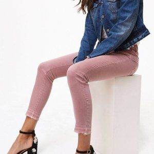 LOFT Unpicked Skinny Jeans Raw Hem Dusty R…